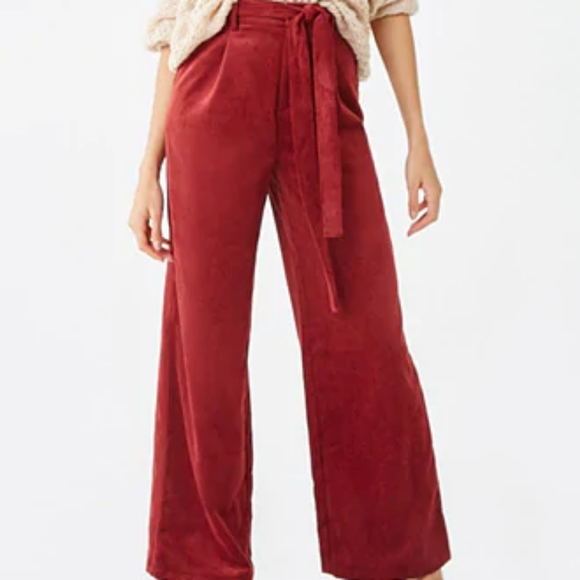 Forever 21 Pants - Forever21 Belted Corduroy Palazzo Pants